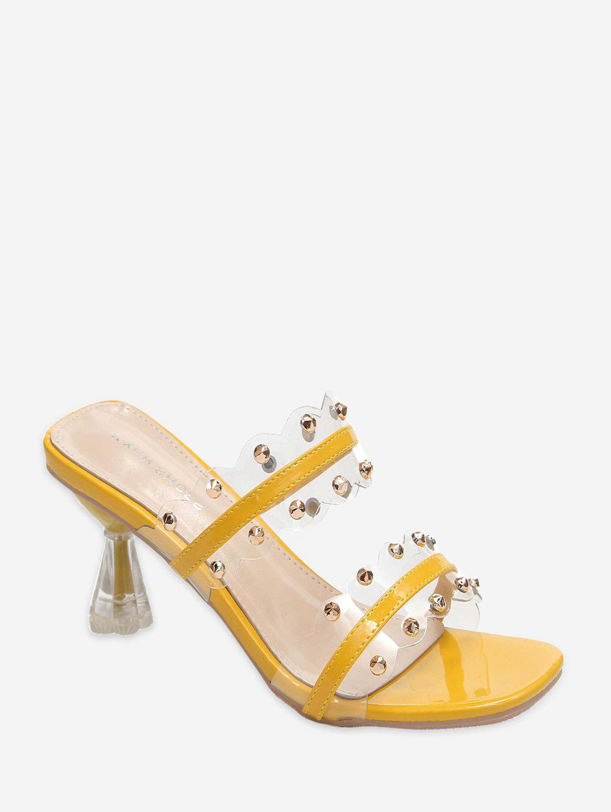 Clear Dual Strap Mid Heel Slides With Studs - YELLOW EU 38