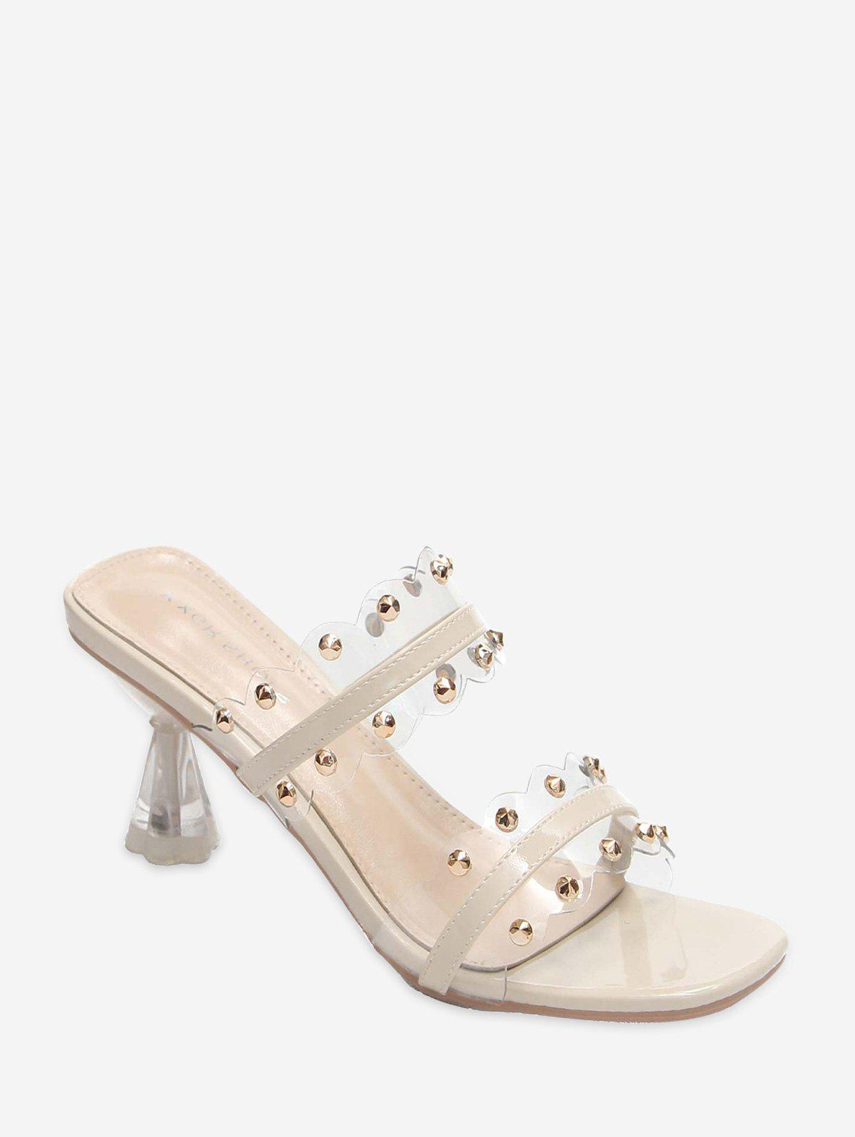 Clear Dual Strap Mid Heel Slides With Studs - BEIGE EU 39