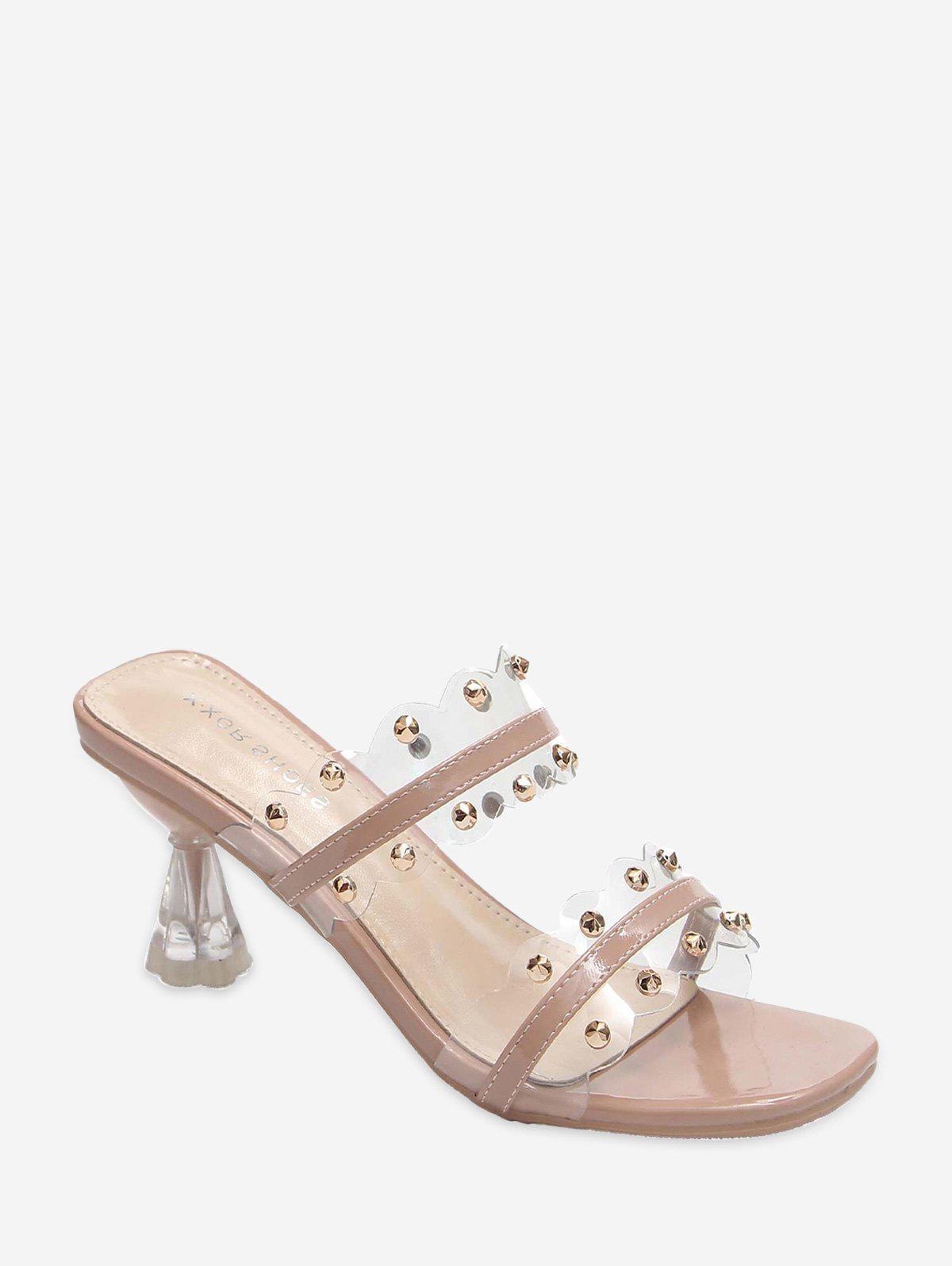 Clear Dual Strap Mid Heel Slides With Studs - LIGHT PINK EU 39