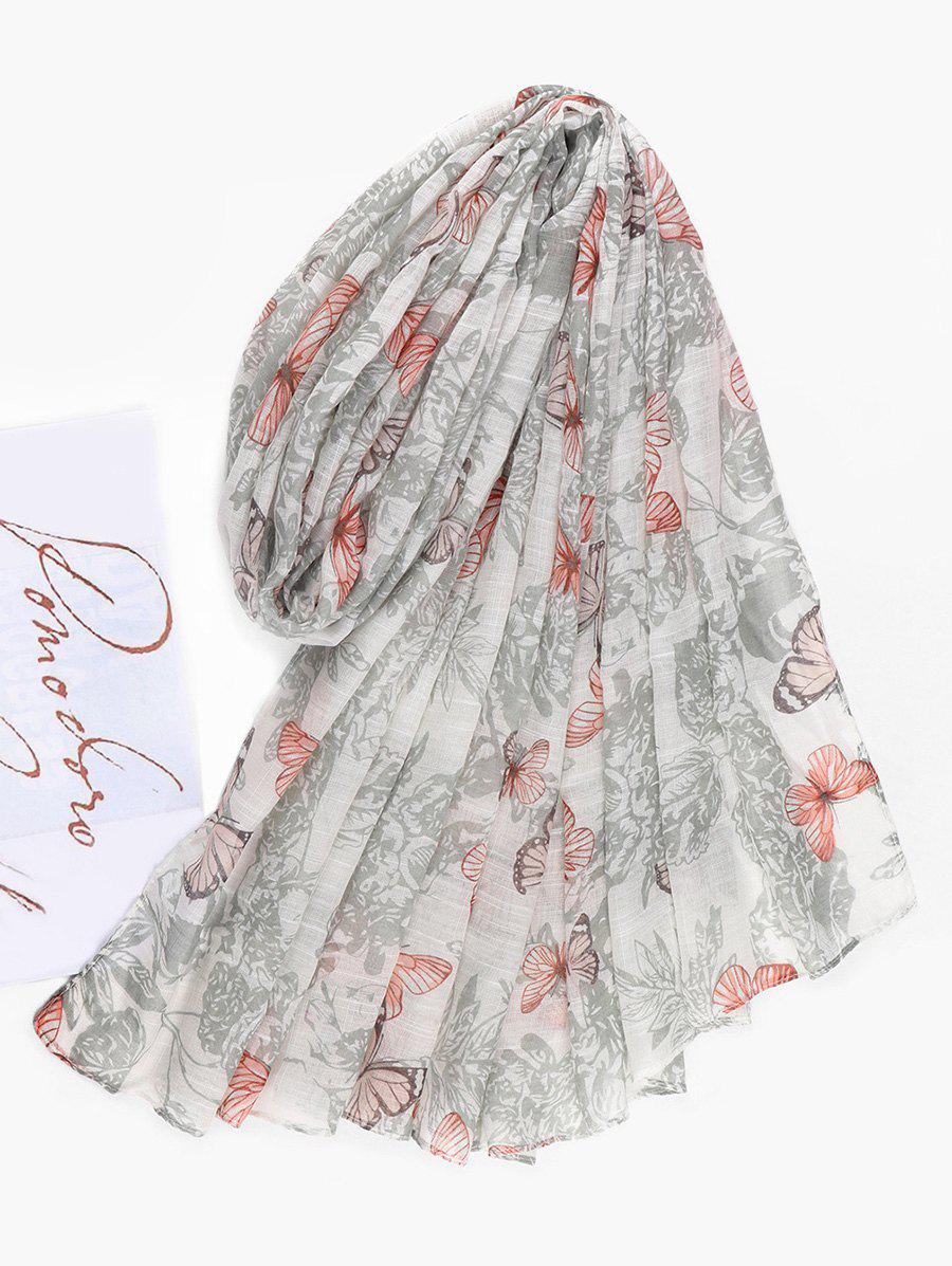 Butterfly Printed Long Beach Scarf - CRYSTAL CREAM