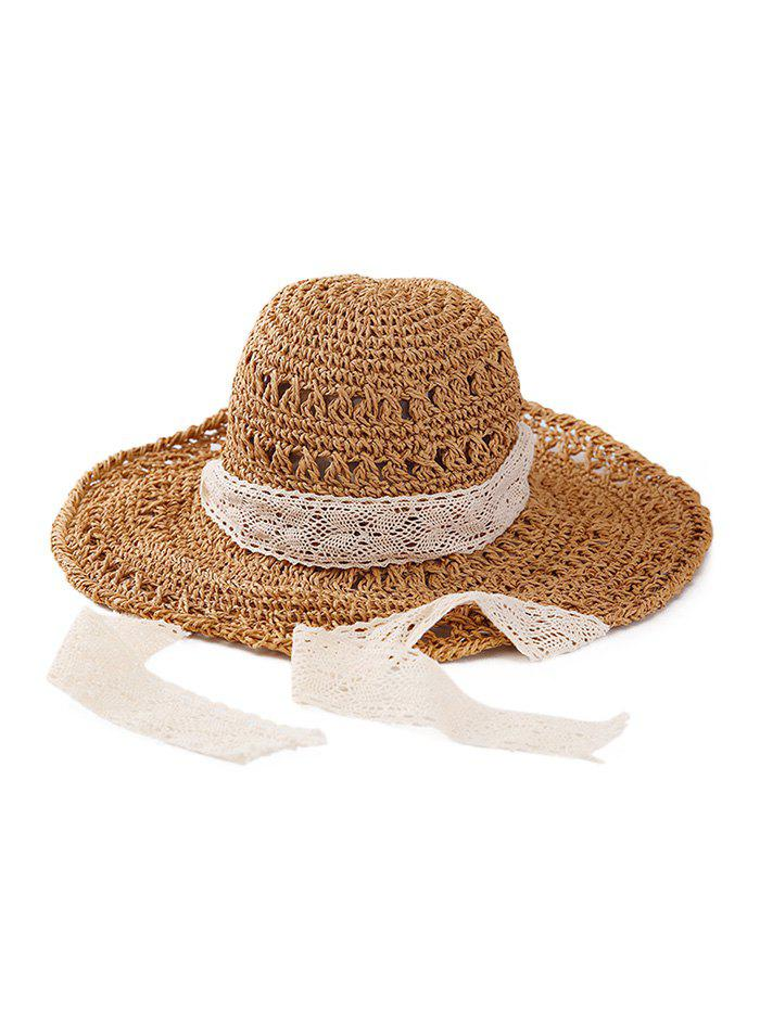 Lace Ribbon Crochet Sun-proof Straw Hat - KHAKI