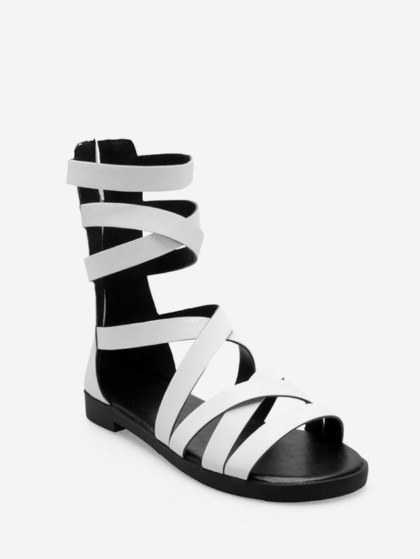 PU Leather Crisscross Strap Flat Gladiator Sandals - WHITE EU 40