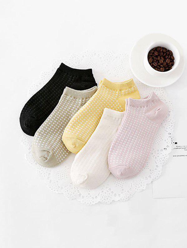 5Pairs Plaid Breathable Invisible Socks Set - multicolor A