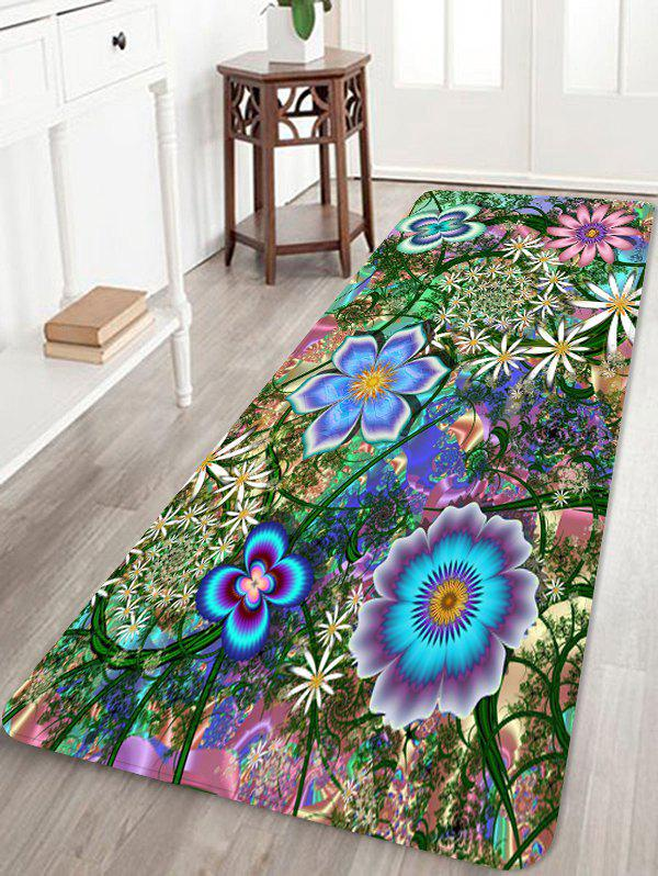 Flowers and Butterflies Print Water Absorption Area Rug - HAZEL GREEN W24 X L71 INCH