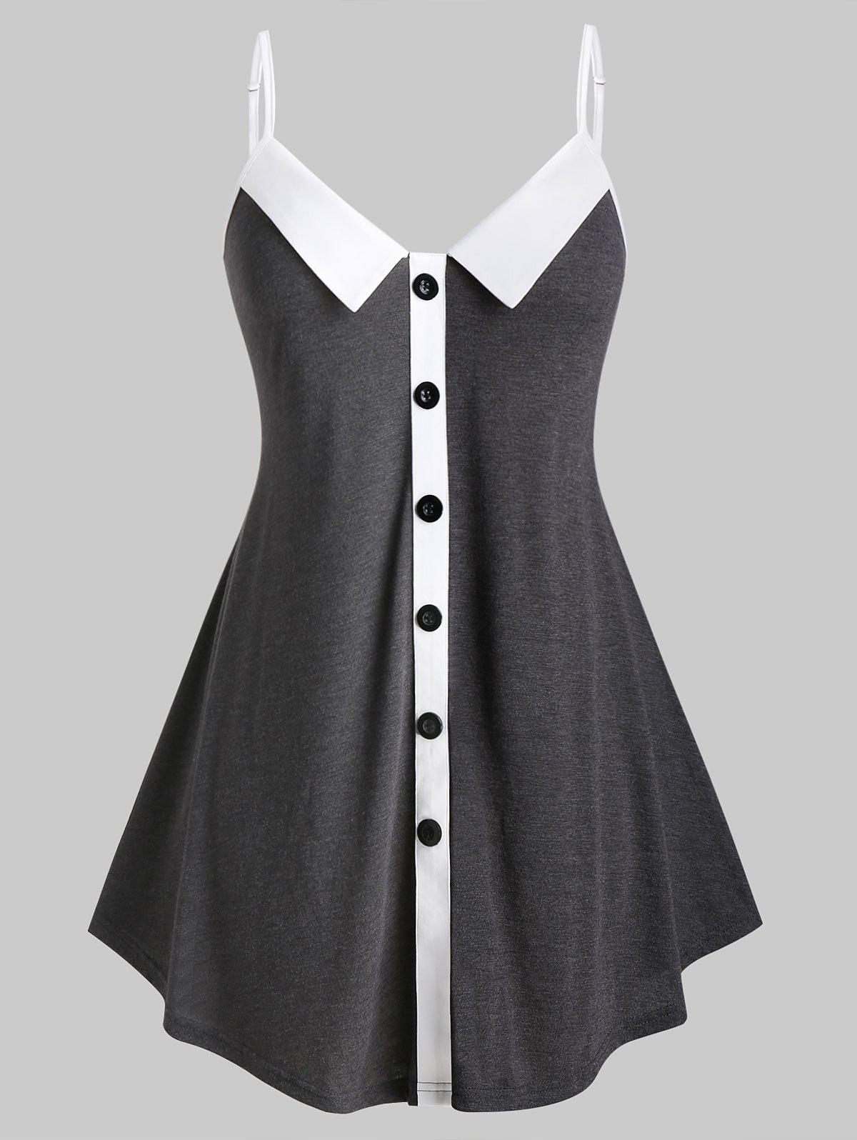 Plus Size Button Cami Tunic Tank Top - CARBON GRAY 5X