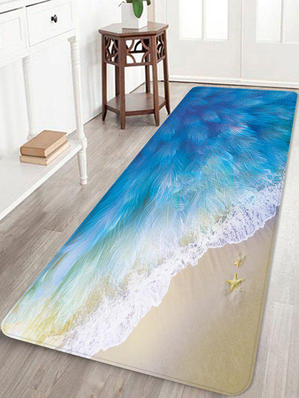 Beach Feather Wave Pattern Water Absorption Area Rug - DODGER BLUE W24 X L71 INCH