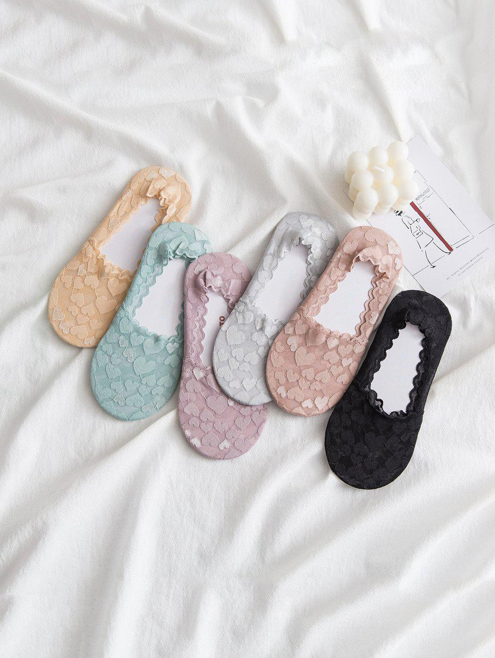 6Pairs Heart Pattern Lace Invisible Socks Set - multicolor A