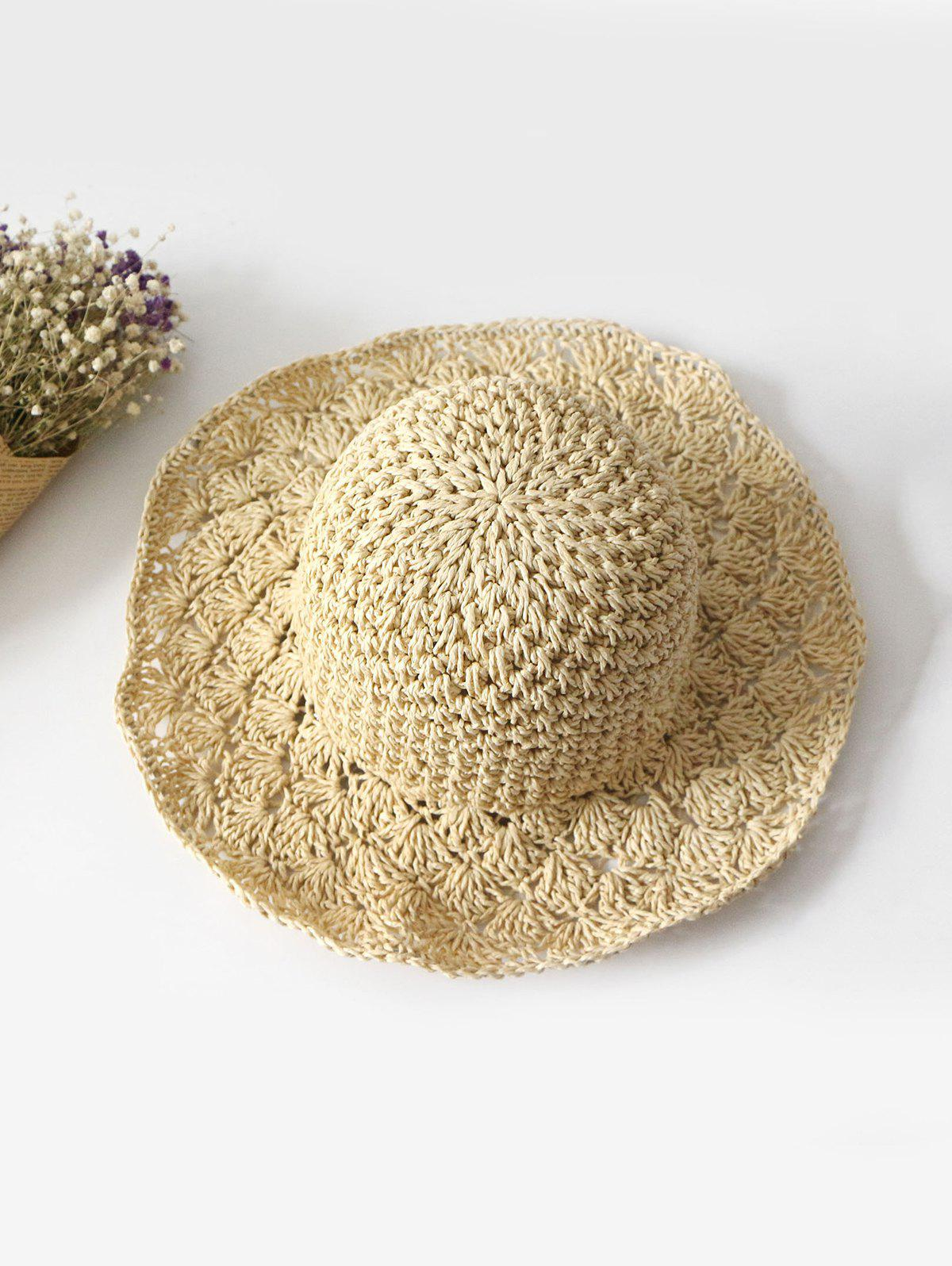 Outdoor Summer Crochet Straw Hat - BEIGE
