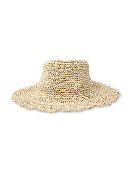 Solid Sun-proof Rippled Edge Straw Hat - BEIGE