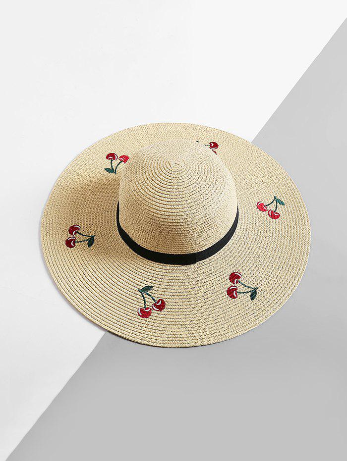 Cherry Embroidered Floppy Sun Hat - BEIGE