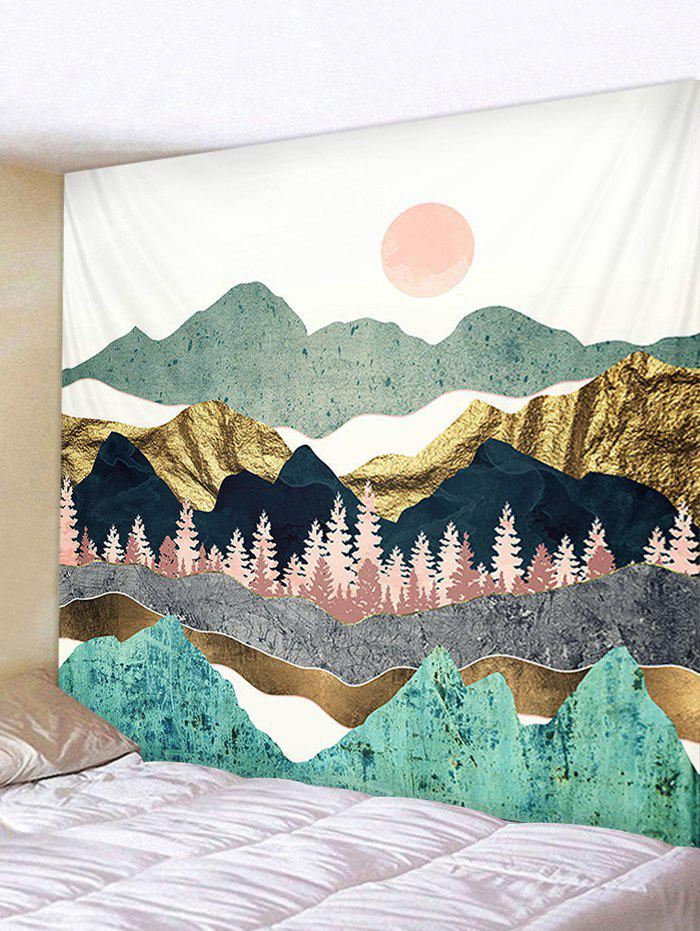 Sun and Mountains Print Tapestry Wall Hanging Art Decoration - BLUE HOSTA W91 X L71 INCH