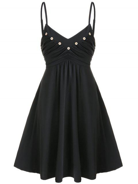 Buttons Ruched Mini Fit and Flare Dress