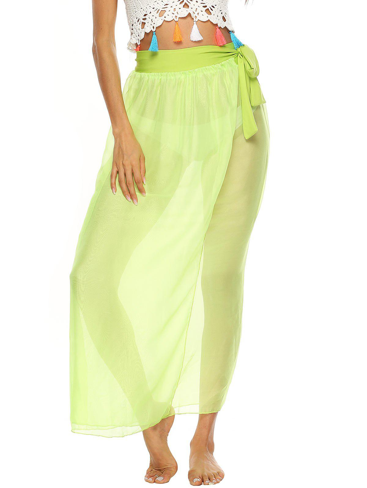 Sheer Wrap Maxi Cover Up Skirt - GREEN YELLOW L