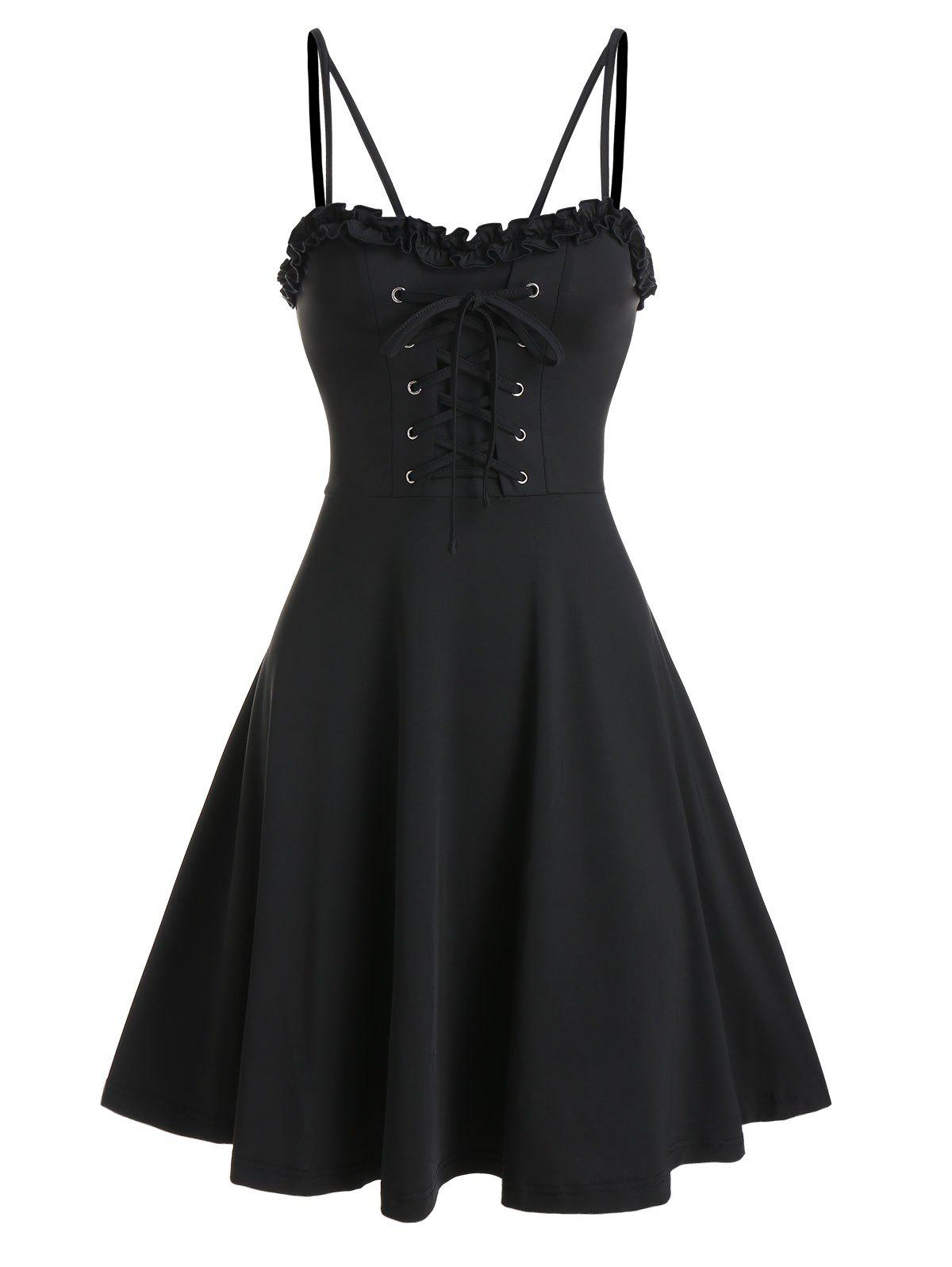 Spaghetti Strap Lace-up Front Ruffle Dress - BLACK 3XL