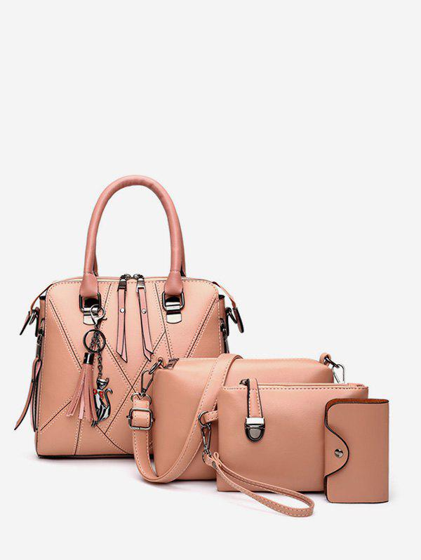 4 Piece Faux Leather Geometric Tote Bag Set - LIGHT PINK