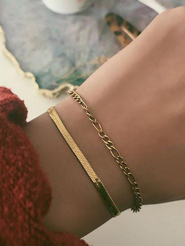 2Pcs Alloy Chain Bracelets Set - GOLD