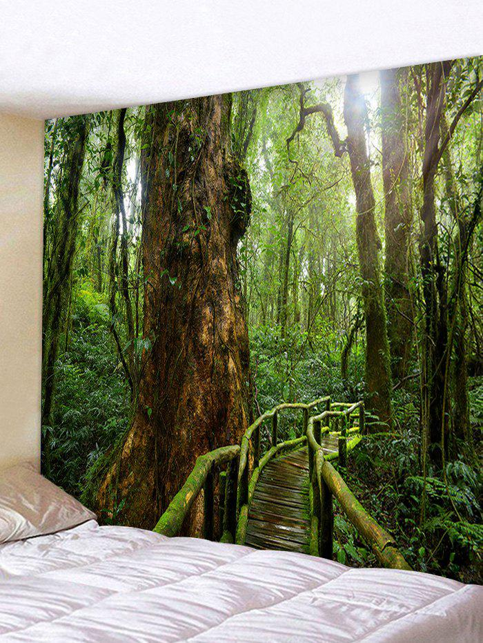 Forest Landscape Print Wall Decor Tapestry - MEDIUM FOREST GREEN W91 X L71 INCH