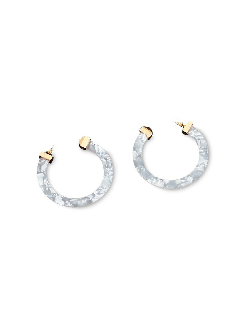 C-shaped Marbling Exaggerated Stud Earrings - WHITE