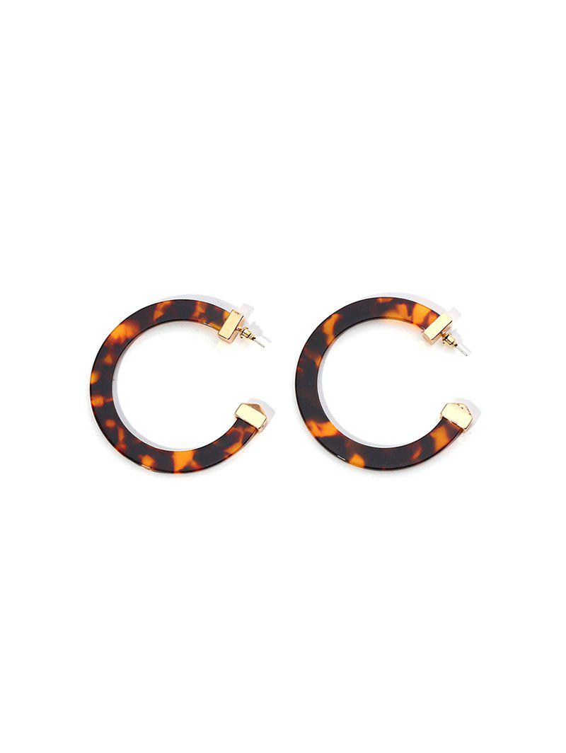 C-shaped Marbling Exaggerated Stud Earrings - COFFEE