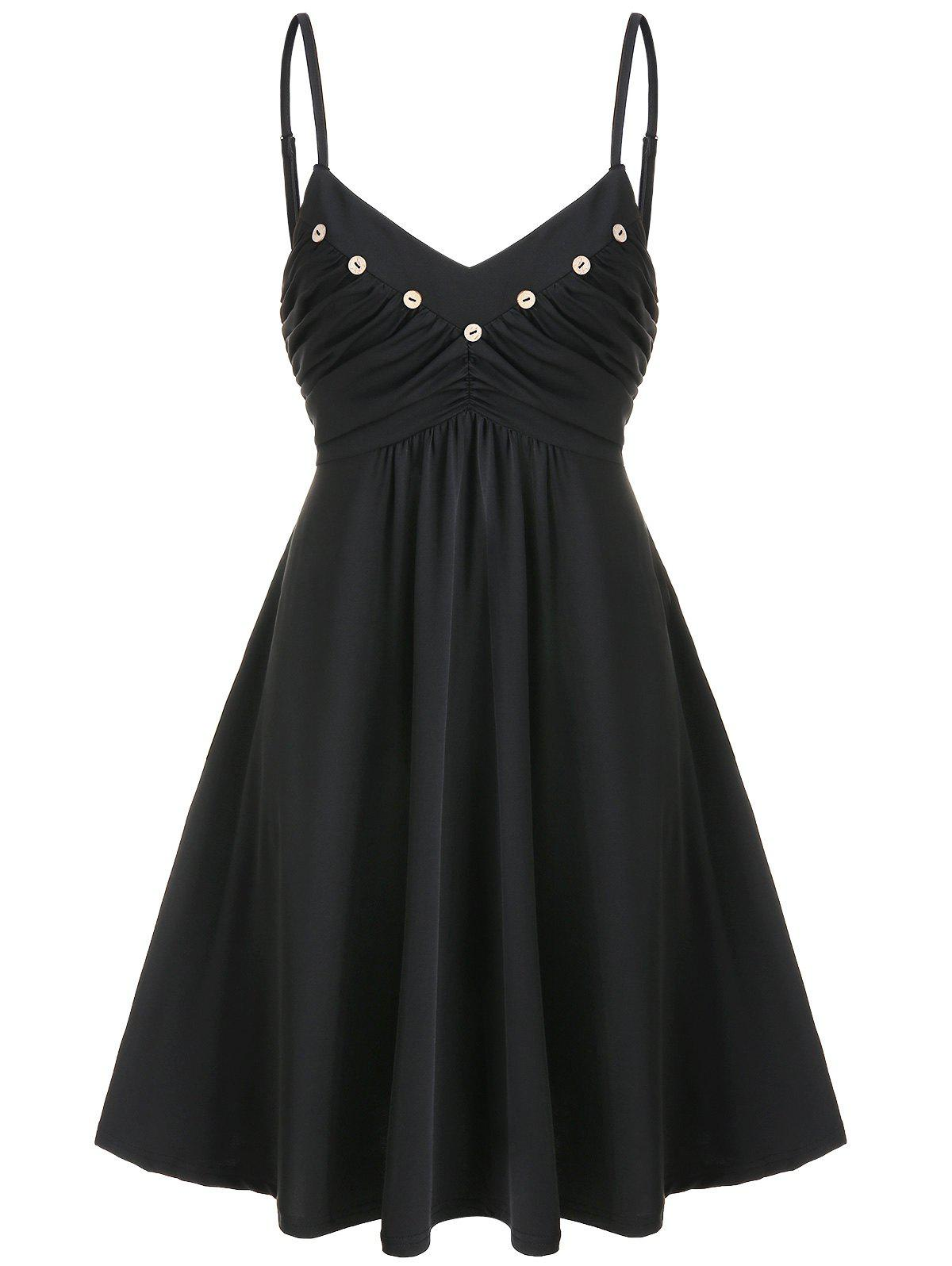 Buttons Ruched Mini Fit and Flare Dress - BLACK 3XL