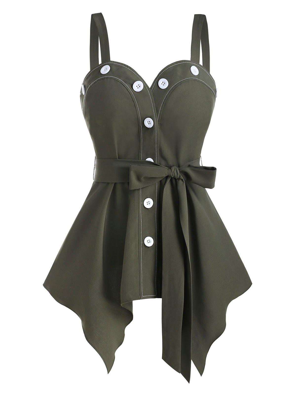 Button Through Belted Handkerchief Tank Top - ARMY GREEN M
