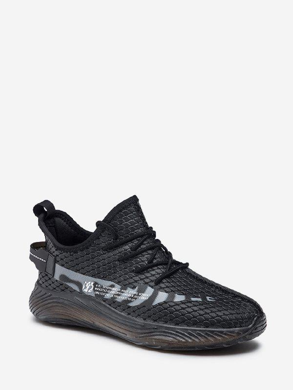 Fish Scale Textured Lace Up Running Sneakers - GRAY EU 44