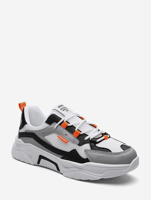 Color-blocking Mesh Lace Up Running Sneakers - LIGHT GRAY EU 44