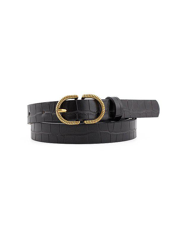 Retro Pin Buckle Textured Belt - BLACK