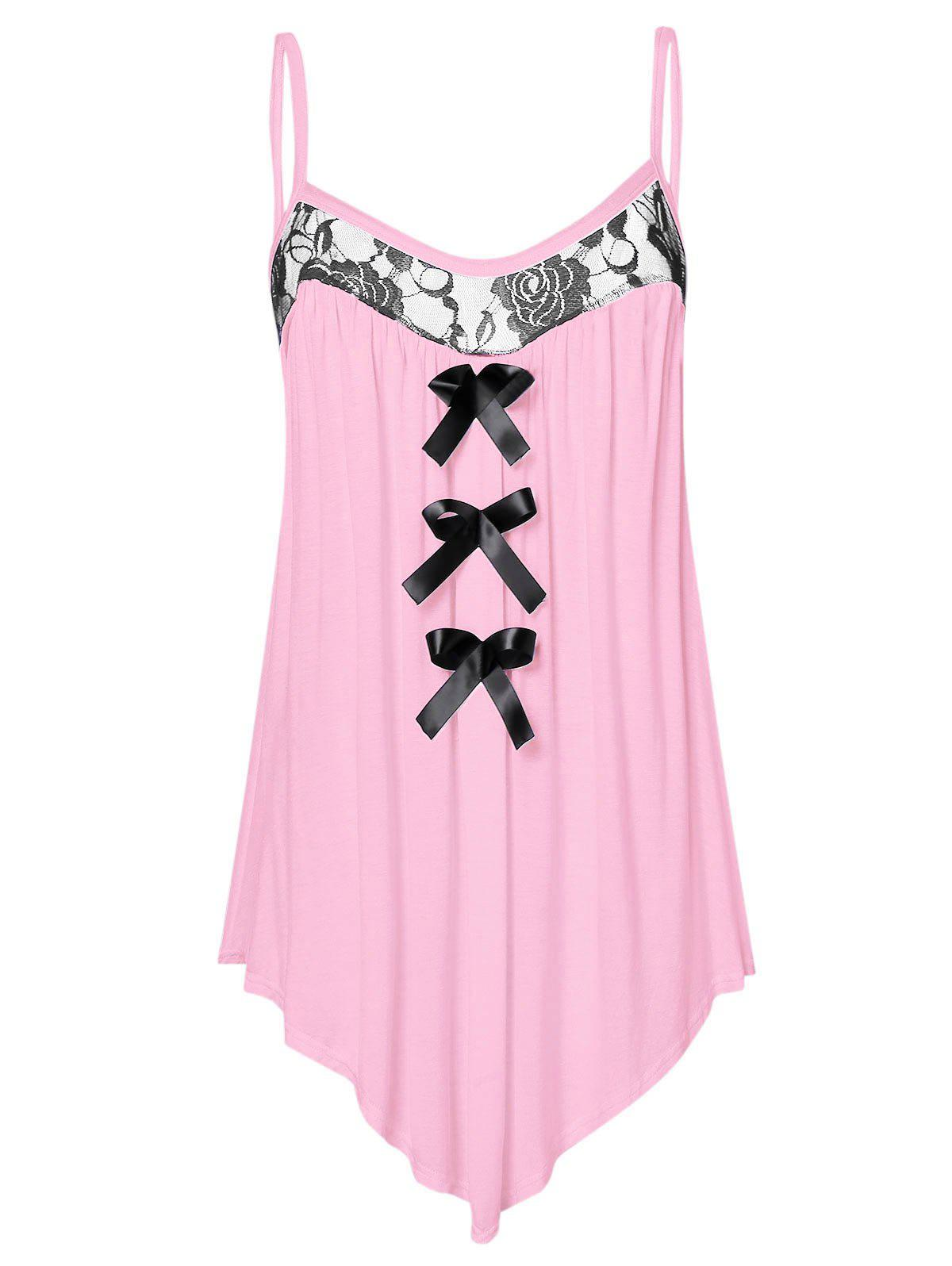 Plus Size Lace Panel Bowknot Embellished Cami Top - PIG PINK 4X