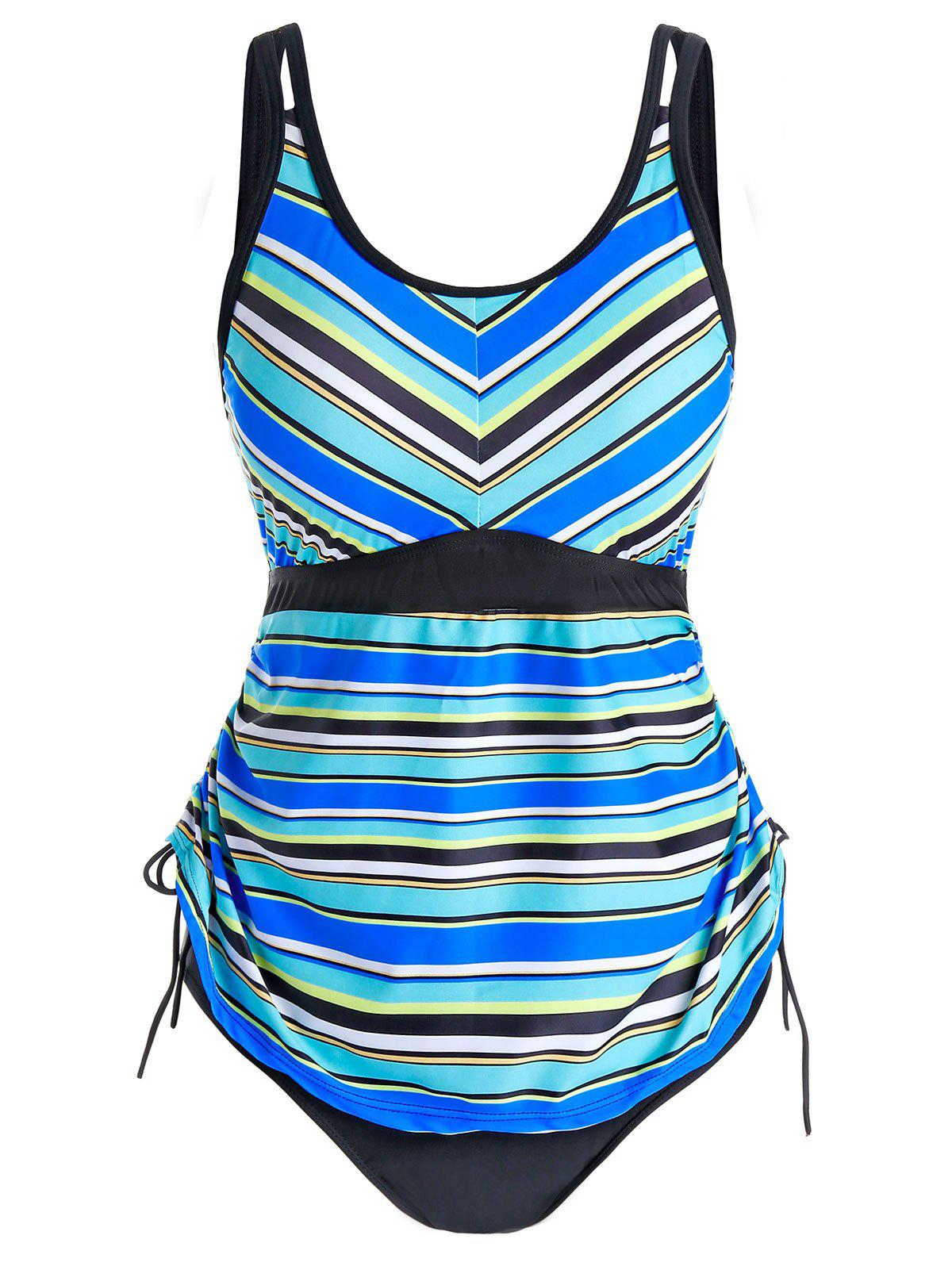 Plus Size Striped Cinched Tankini Swimwear - multicolor L