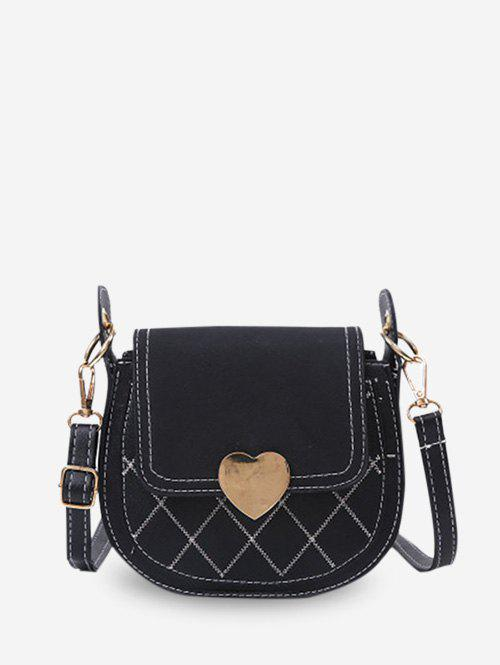 Heart Quilted Saddle Crossbody Bag - BLACK