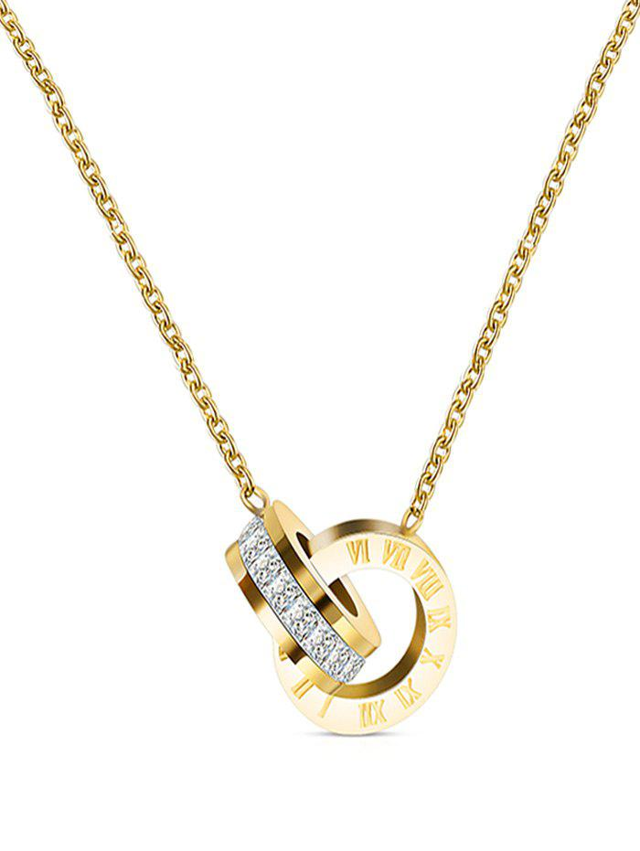 Roman Numerals Circle Rhinestone Necklace - GOLD
