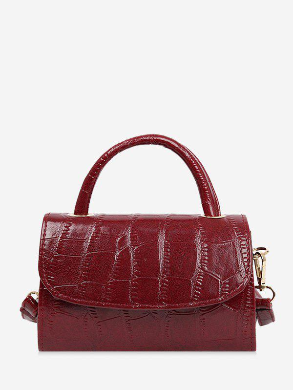 Textured Solid Crossbody Bag - RED WINE