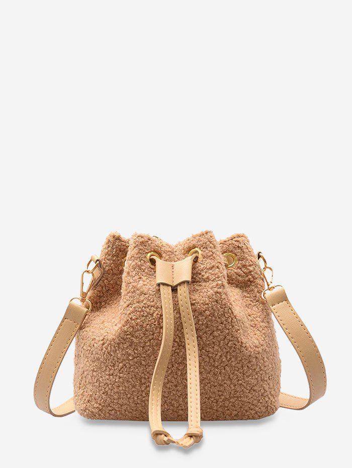 Plush Drawstring Crossbody Bucket Bag - KHAKI