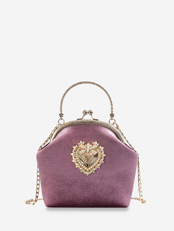 Heart Bowknot Velour Chain Crossbody Bag - PALE VIOLET RED