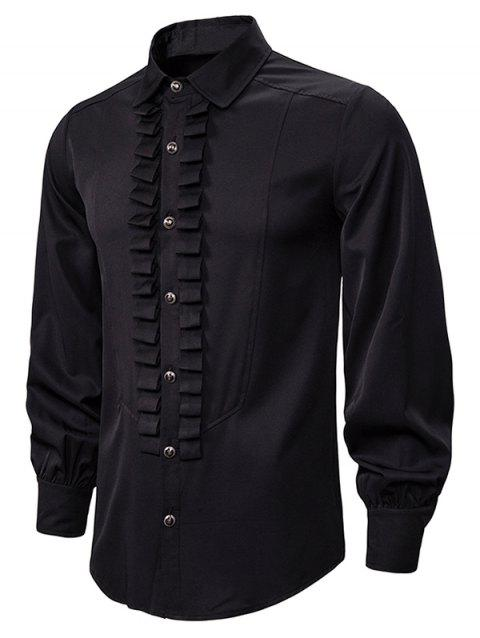 Front Ruched Button Up Gothic Shirt