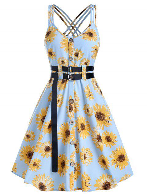Button Through Flower Print Belted Dress