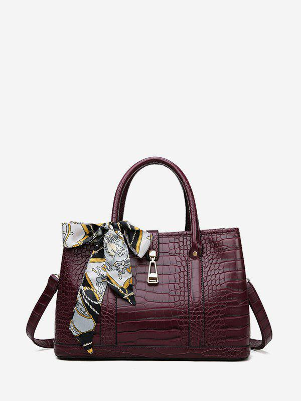 Silk Scarf Decor Animal Embossed Tote Bag - RED WINE