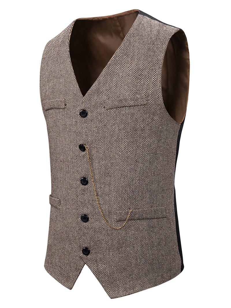 Metal Chain Herringbone Button Up Tweed Vest - LIGHT KHAKI 2XL