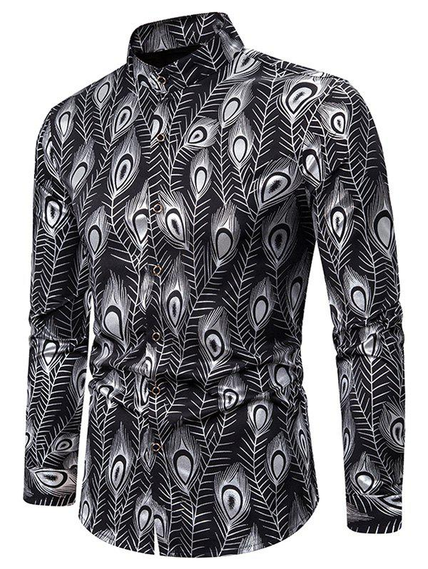 Gilding Peacock Feathers Stand Collar Button Up Shirt - SILVER 2XL