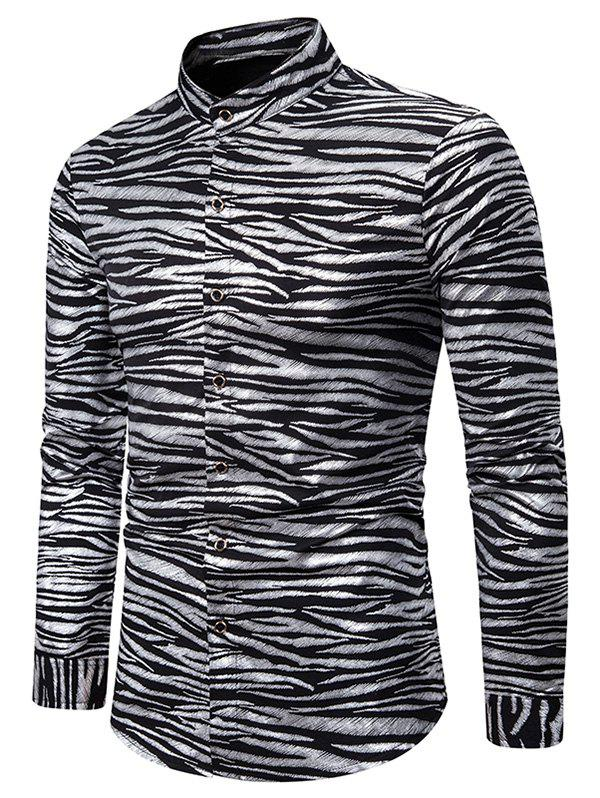 Gilding Zebra Print Stand Collar Button Up Shirt - SILVER 2XL