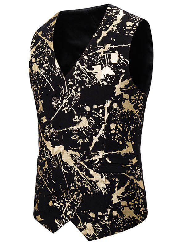 Gliding Splatter Paint Double Breasted Casual Vest - GOLD M