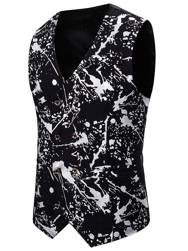 Gliding Splatter Paint Double Breasted Casual Vest - SILVER 2XL