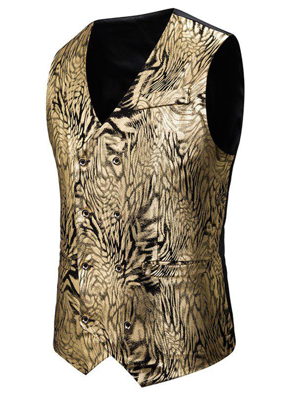 Gilding Animal Pattern Double Breasted Casual Vest - GOLD XL