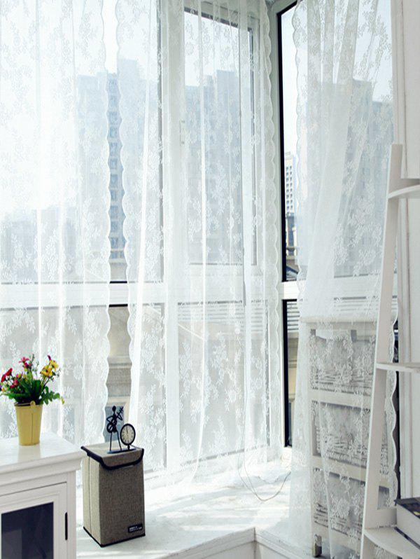 1 Panel Flower Pattern Scalloped Lace Window Curtain - MILK WHITE 145*180CM