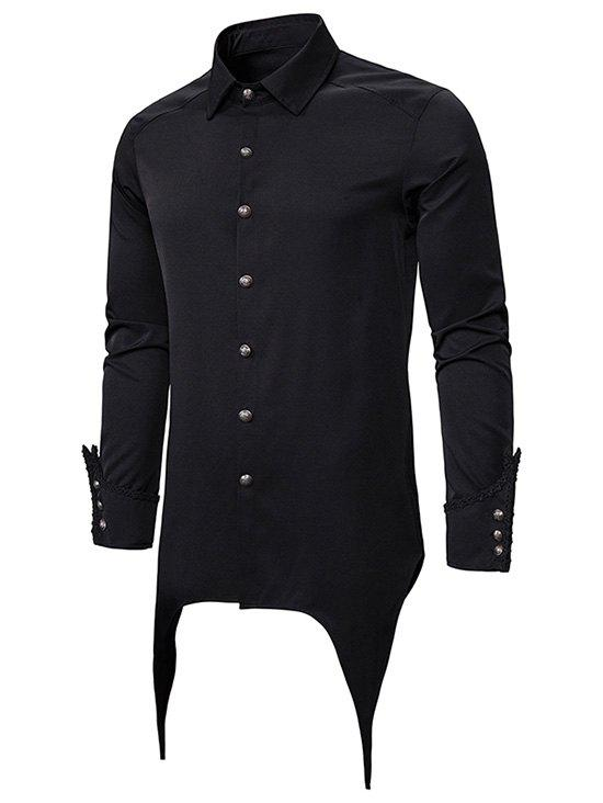 Button Up Asymmetrical Longline Gothic Shirt - BLACK M