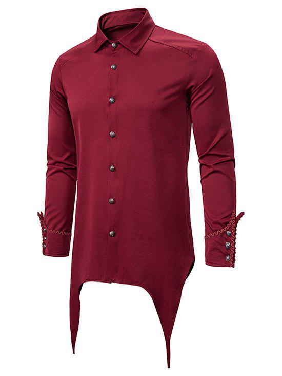 Button Up Asymmetrical Longline Gothic Shirt - RED WINE 2XL