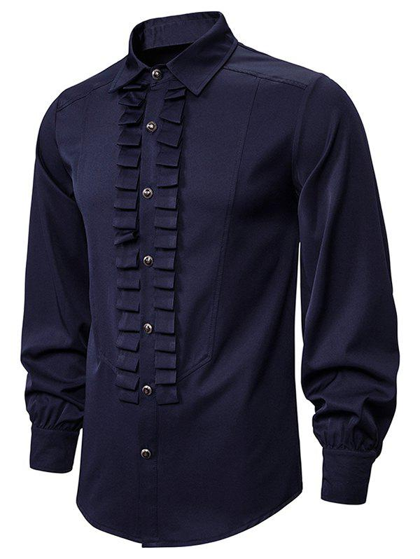 Front Ruched Button Up Gothic Shirt - CADETBLUE 2XL