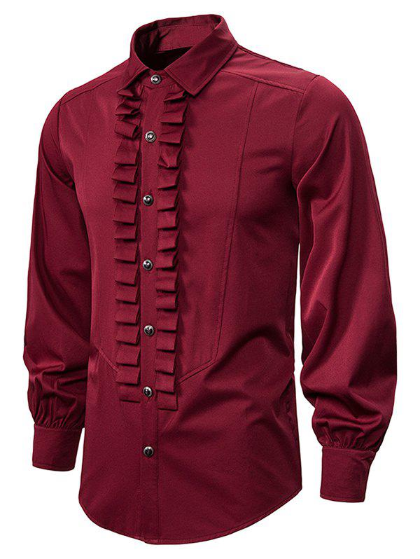 Front Ruched Button Up Gothic Shirt - RED WINE 2XL