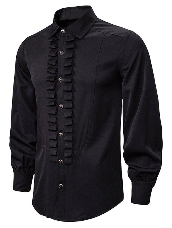Front Ruched Button Up Gothic Shirt - BLACK 2XL